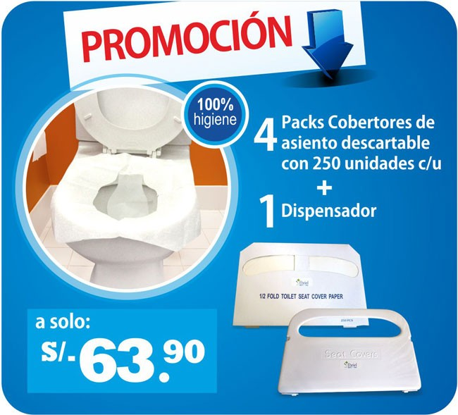 4 Packs Cobertores de asiento descartable con 250 unidades c/u mas 1 Dispensador -328